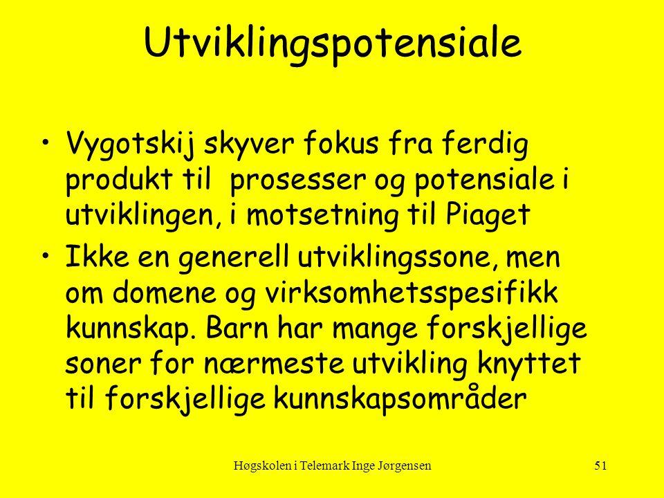 Høgskolen i Telemark Inge Jørgensen51 •Vygotskij skyver fokus fra ferdig produkt til prosesser og potensiale i utviklingen, i motsetning til Piaget •I