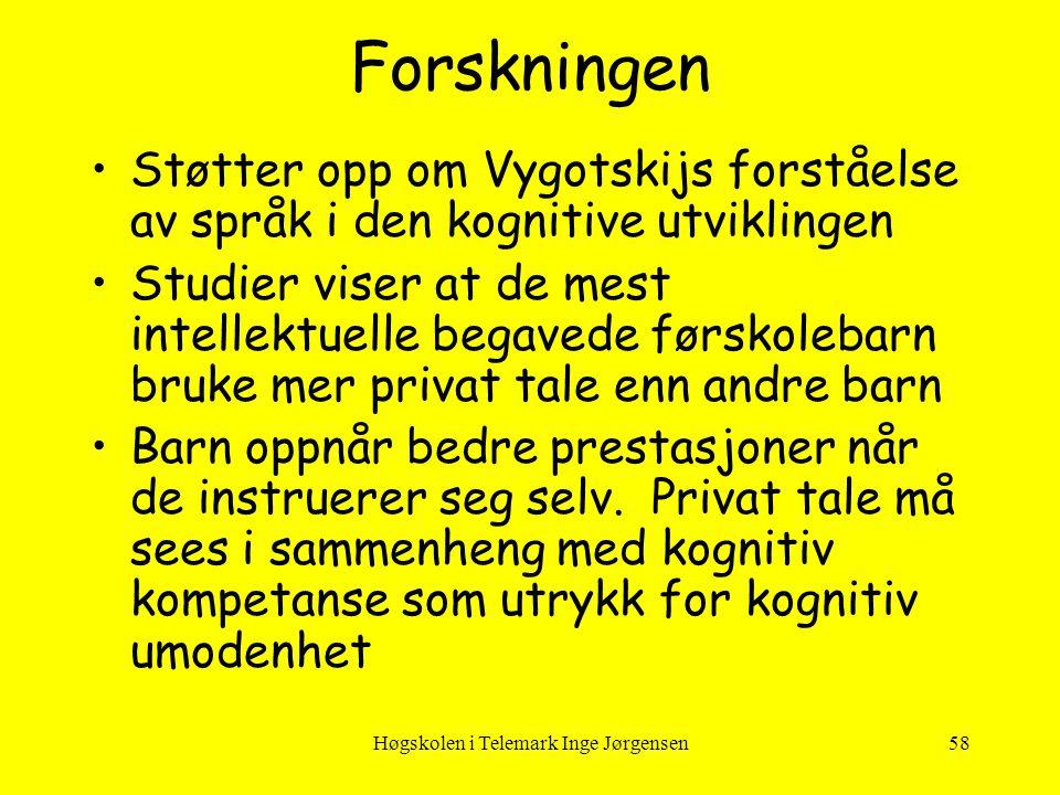 Høgskolen i Telemark Inge Jørgensen58 Forskningen •Støtter opp om Vygotskijs forståelse av språk i den kognitive utviklingen •Studier viser at de mest