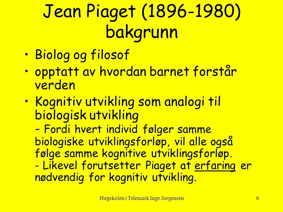 Høgskolen i Telemark Inge Jørgensen27 Preoperasjonelle stadiet (2-7 år) •Utvikling av symbolfunksjonen.