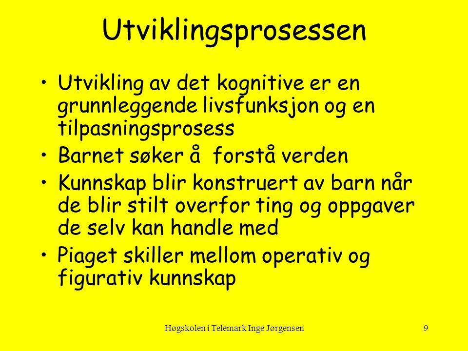 Høgskolen i Telemark Inge Jørgensen9 Utviklingsprosessen •Utvikling av det kognitive er en grunnleggende livsfunksjon og en tilpasningsprosess •Barnet