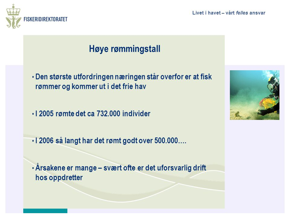 Livet i havet – vårt felles ansvar Økonomisk betydning • Norge er verdens største produsent av atlantisk laks • I 2005 produserte Norge ca 600.000 tonn laks og ørret til en samlet eksportverdi av NOK 14,6 milliarder