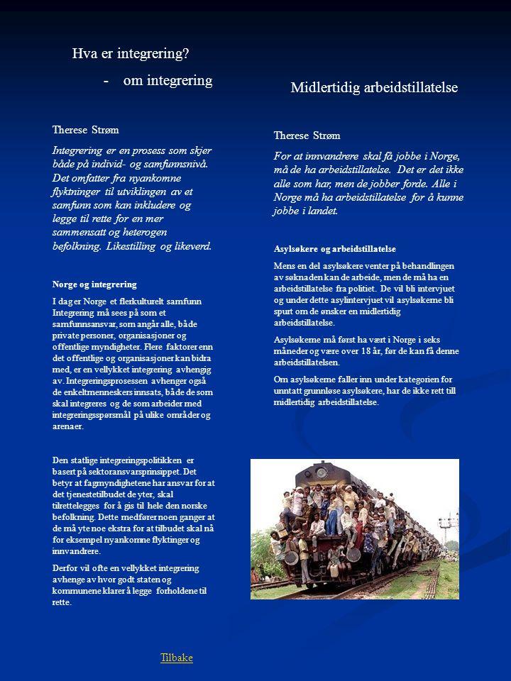 Hva er integrering? - om integrering Therese Strøm Integrering er en prosess som skjer både på individ- og samfunnsnivå. Det omfatter fra nyankomne fl
