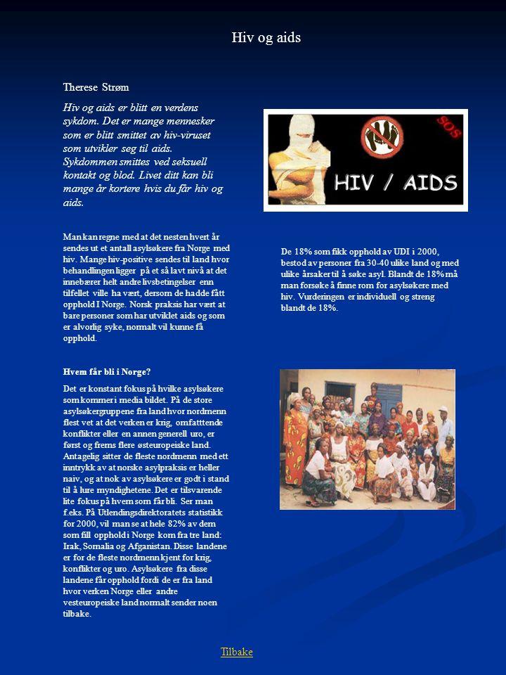 Hiv og aids Therese Strøm Hiv og aids er blitt en verdens sykdom. Det er mange mennesker som er blitt smittet av hiv-viruset som utvikler seg til aids