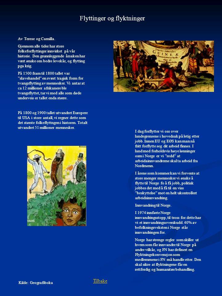 Flyttinger og flyktninger Av Terese og Camilla. Gjennom alle tider har store folkeforflyttinger innvirket på vår historie. Den grunnleggende årsaken h