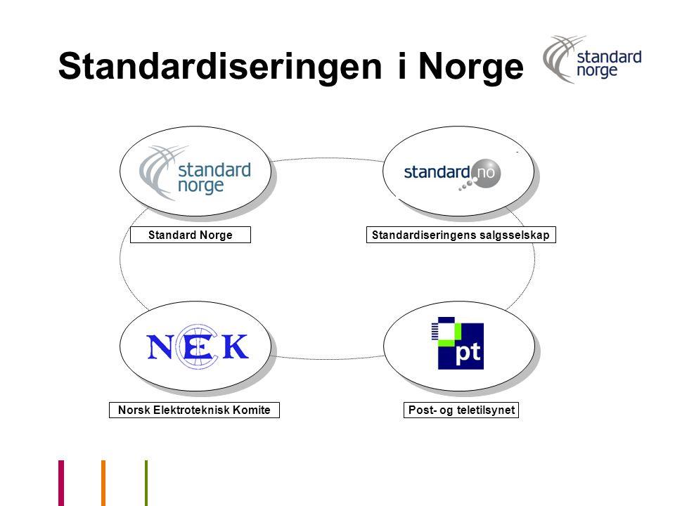 Norsk Elektroteknisk KomitePost- og teletilsynet Standard Norge Standardiseringen i Norge Standardiseringens salgsselskap
