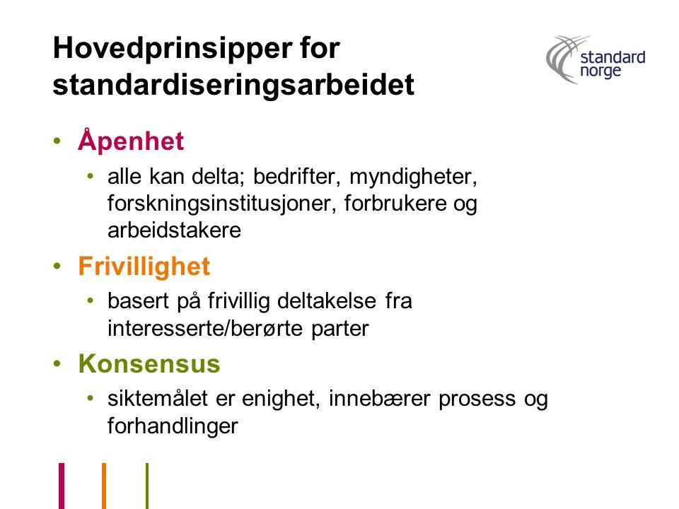 Hovedprinsipper for standardiseringsarbeidet •Åpenhet •alle kan delta; bedrifter, myndigheter, forskningsinstitusjoner, forbrukere og arbeidstakere •F