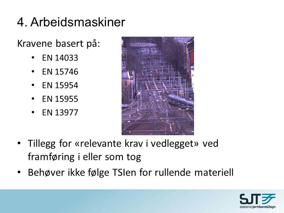 4. Arbeidsmaskiner Kravene basert på: • EN 14033 • EN 15746 • EN 15954 • EN 15955 • EN 13977 • Tillegg for «relevante krav i vedlegget» ved framføring