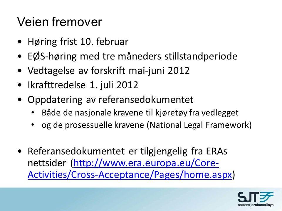 Veien fremover •Høring frist 10. februar •EØS-høring med tre måneders stillstandperiode •Vedtagelse av forskrift mai-juni 2012 •Ikrafttredelse 1. juli
