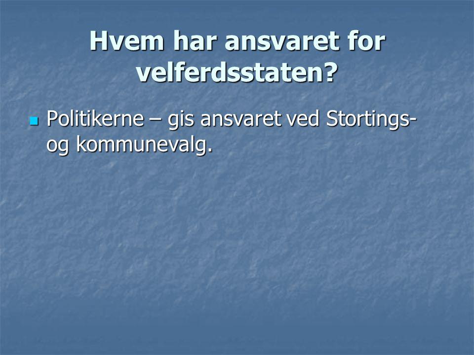 Hvem har ansvaret for velferdsstaten?  Politikerne – gis ansvaret ved Stortings- og kommunevalg.