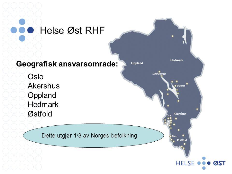 Geografisk ansvarsområde: Oslo Akershus Oppland Hedmark Østfold Dette utgjør 1/3 av Norges befolkning Helse Øst RHF