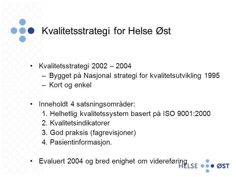Kvalitetsstrategi for Helse Øst •Kvalitetsstrategi 2002 – 2004 –Bygget på Nasjonal strategi for kvalitetsutvikling 1995 –Kort og enkel •Inneholdt 4 satsningsområder: 1.