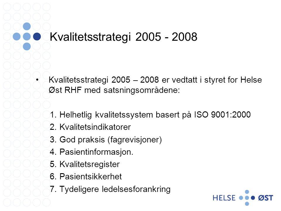 Kvalitetsstrategi 2005 - 2008 •Kvalitetsstrategi 2005 – 2008 er vedtatt i styret for Helse Øst RHF med satsningsområdene: 1.