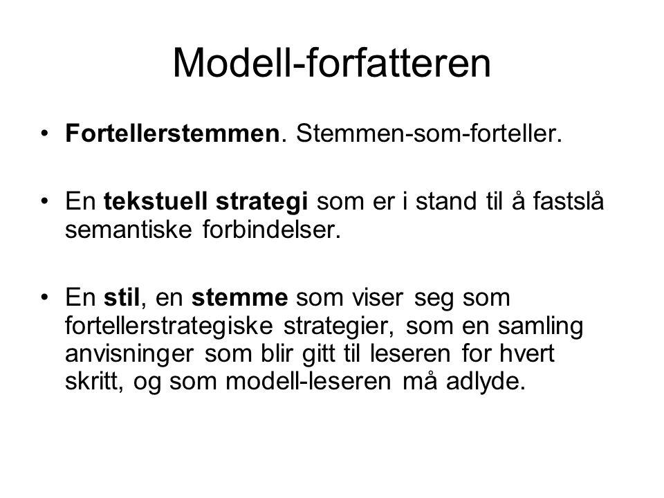 Modell-forfatteren •Fortellerstemmen. Stemmen-som-forteller. •En tekstuell strategi som er i stand til å fastslå semantiske forbindelser. •En stil, en