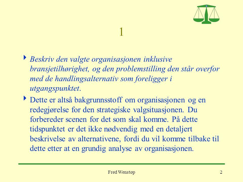 2 1  Beskriv den valgte organisasjonen inklusive bransjetilhørighet, og den problemstilling den står overfor med de handlingsalternativ som foreligge