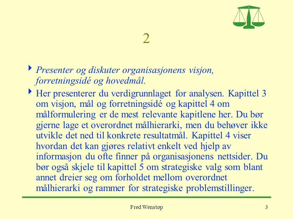 Fred Wenstøp3 2  Presenter og diskuter organisasjonens visjon, forretningsidé og hovedmål.  Her presenterer du verdigrunnlaget for analysen. Kapitte