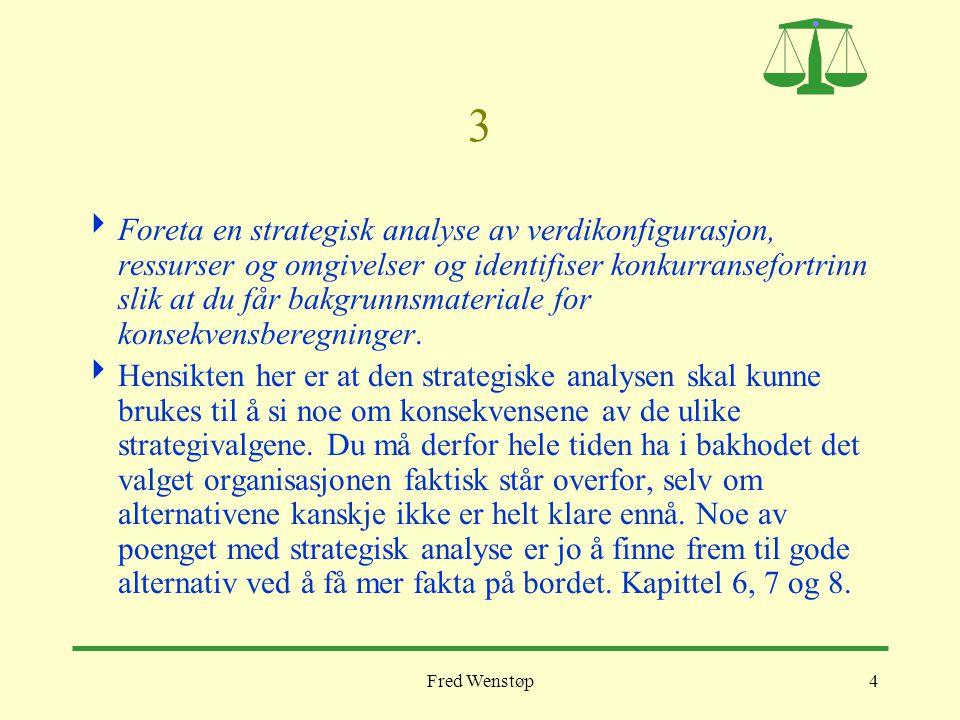 Fred Wenstøp4 3  Foreta en strategisk analyse av verdikonfigurasjon, ressurser og omgivelser og identifiser konkurransefortrinn slik at du får bakgru