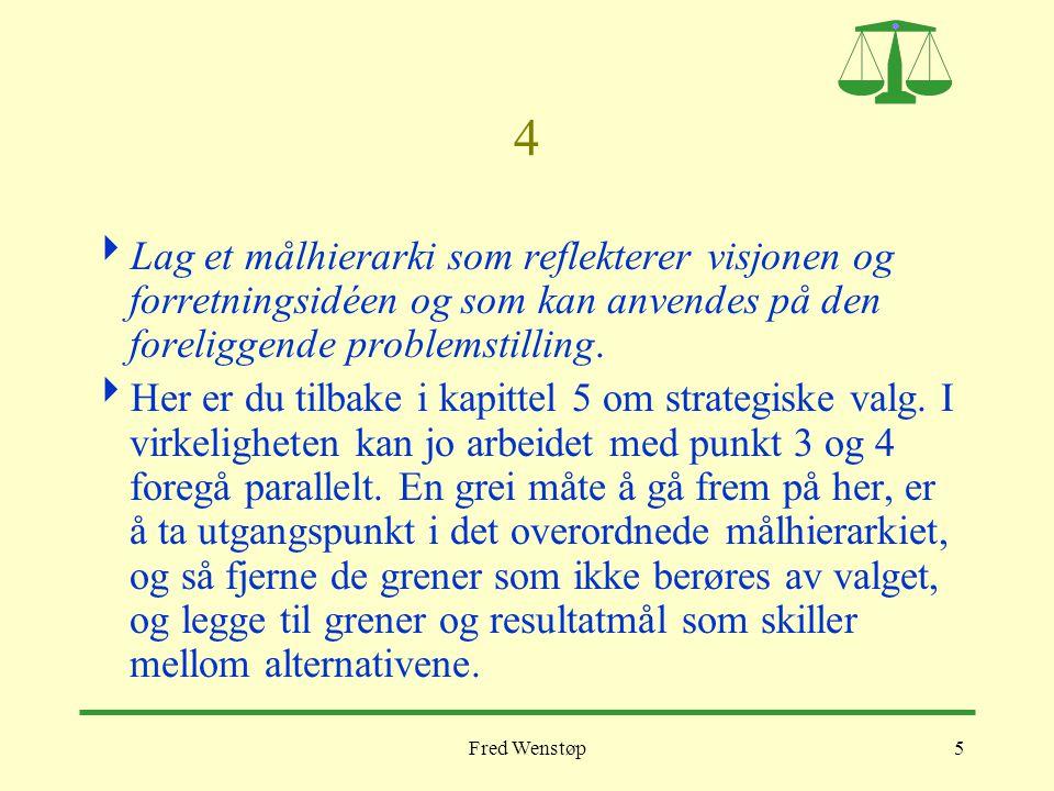 Fred Wenstøp5 4  Lag et målhierarki som reflekterer visjonen og forretningsidéen og som kan anvendes på den foreliggende problemstilling.  Her er du