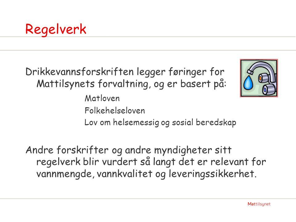 Regelverk Drikkevannsforskriften legger føringer for Mattilsynets forvaltning, og er basert på: Matloven Folkehelseloven Lov om helsemessig og sosial