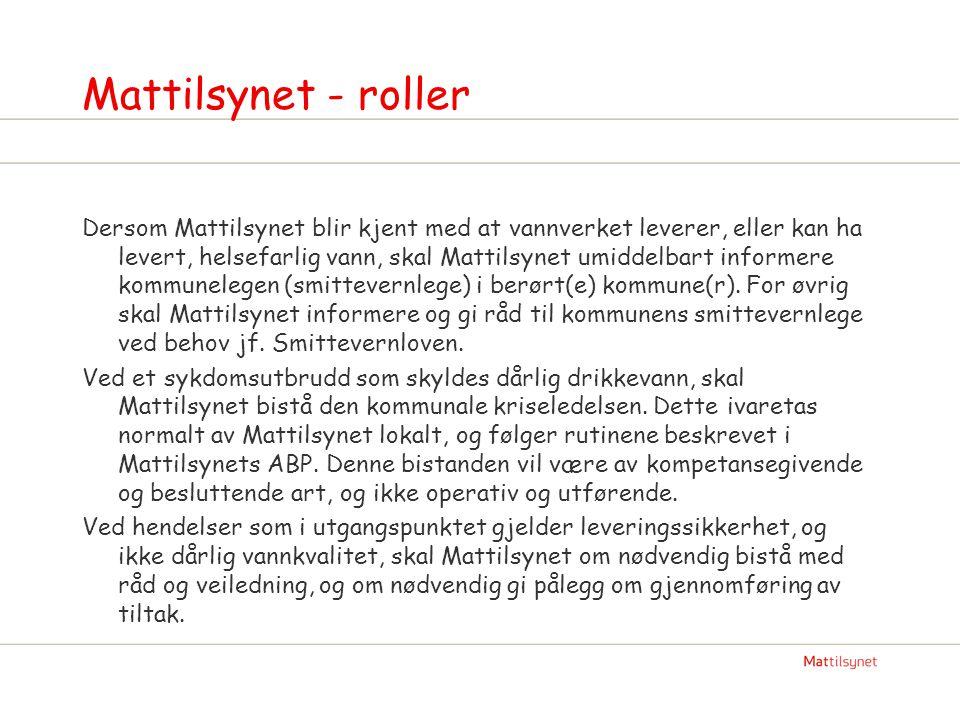 Mattilsynet - roller Dersom Mattilsynet blir kjent med at vannverket leverer, eller kan ha levert, helsefarlig vann, skal Mattilsynet umiddelbart info