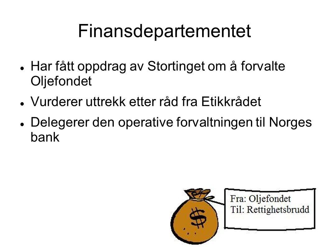 Norges bank  «sikre petroleumsfondet for fremtidige generasjoner»  Tar vare på oljepengene våre  Passer på at de blir brukt på en fornuftig måte