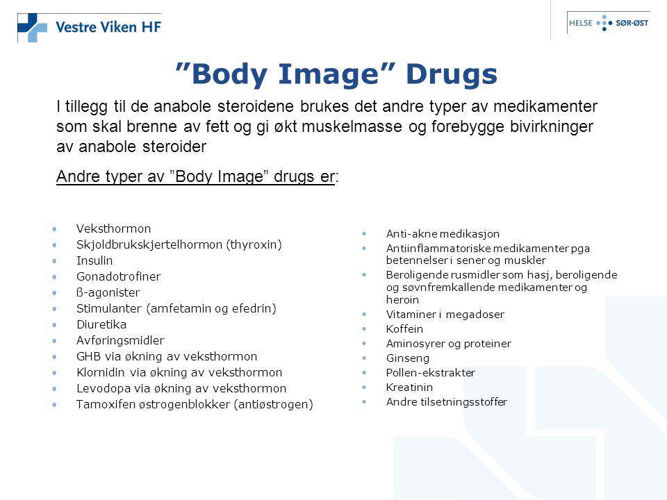 """""""Body Image"""" Drugs •Veksthormon •Skjoldbrukskjertelhormon (thyroxin) •Insulin •Gonadotrofiner •ß-agonister •Stimulanter (amfetamin og efedrin) •Diuret"""
