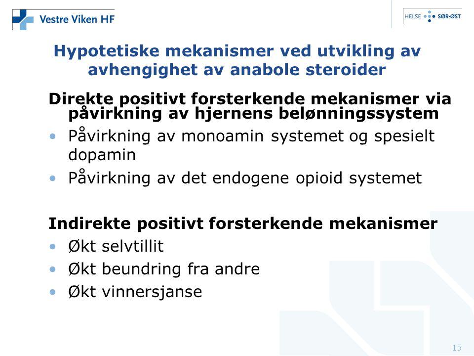 15 Hypotetiske mekanismer ved utvikling av avhengighet av anabole steroider Direkte positivt forsterkende mekanismer via påvirkning av hjernens belønn