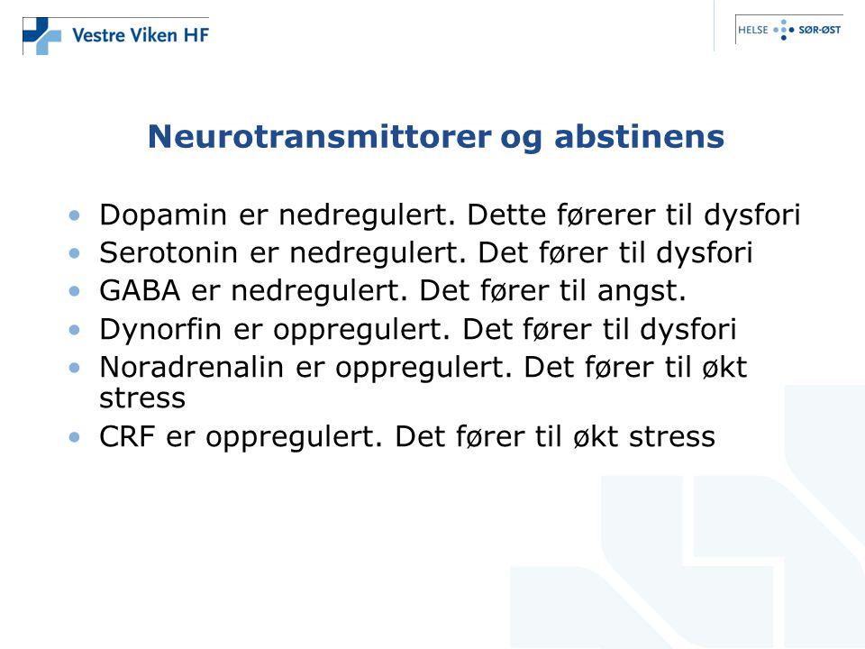Neurotransmittorer og abstinens •Dopamin er nedregulert. Dette førerer til dysfori •Serotonin er nedregulert. Det fører til dysfori •GABA er nedregule