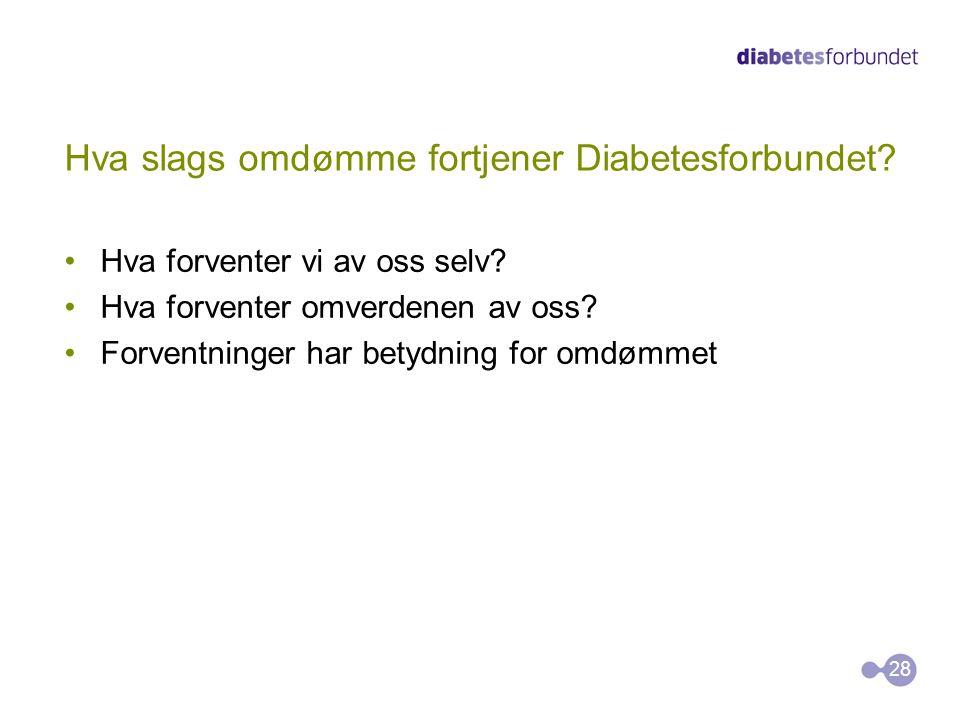Hva slags omdømme fortjener Diabetesforbundet? •Hva forventer vi av oss selv? •Hva forventer omverdenen av oss? •Forventninger har betydning for omdøm