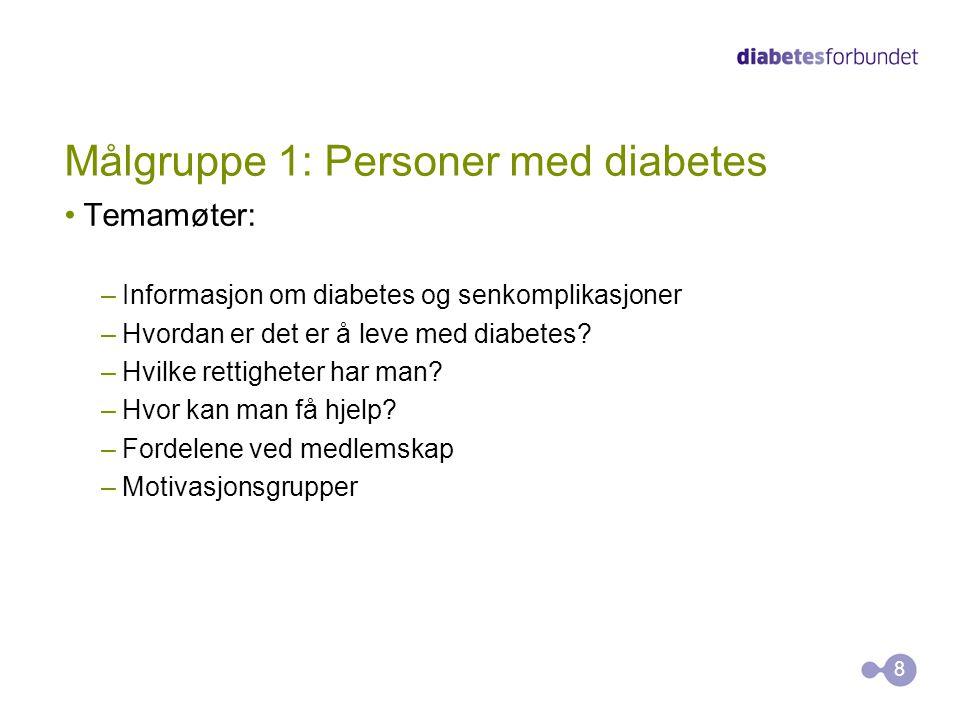 Målgruppe 1: Personer med diabetes •Temamøter: –Informasjon om diabetes og senkomplikasjoner –Hvordan er det er å leve med diabetes? –Hvilke rettighet