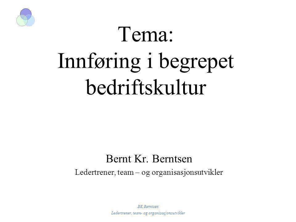 BK Berntsen Ledertrener, team- og organisasjonsutvikler Tema: Innføring i begrepet bedriftskultur Bernt Kr. Berntsen Ledertrener, team – og organisasj