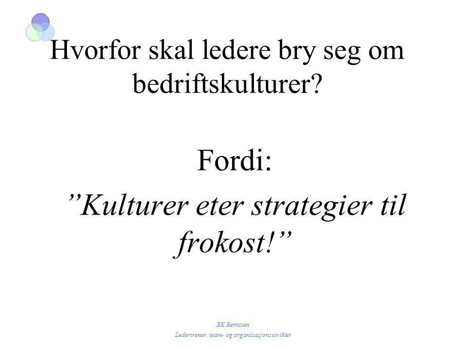 """BK Berntsen Ledertrener, team- og organisasjonsutvikler Hvorfor skal ledere bry seg om bedriftskulturer? Fordi: """"Kulturer eter strategier til frokost!"""