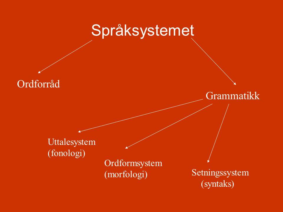 Språksystemet Ordforråd Grammatikk Uttalesystem (fonologi) Ordformsystem (morfologi) Setningssystem (syntaks)