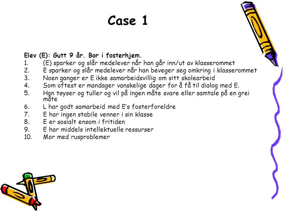 Case 1 Elev (E): Gutt 9 år. Bor i fosterhjem. 1.(E) sparker og slår medelever når han går inn/ut av klasserommet 2.E sparker og slår medelever når han