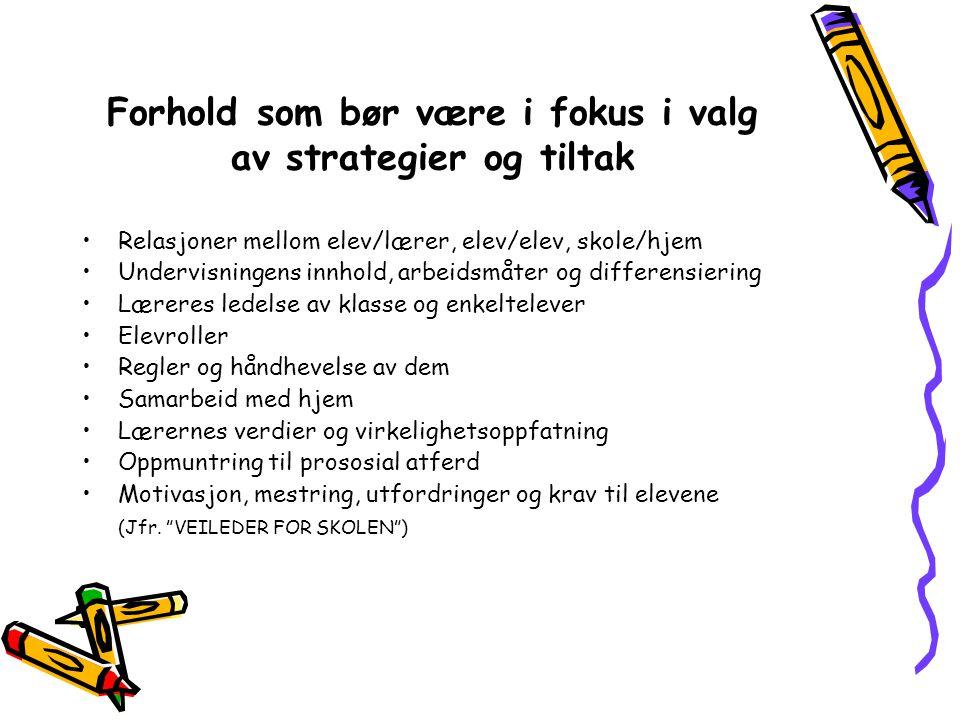 Forhold som bør være i fokus i valg av strategier og tiltak •Relasjoner mellom elev/lærer, elev/elev, skole/hjem •Undervisningens innhold, arbeidsmåte