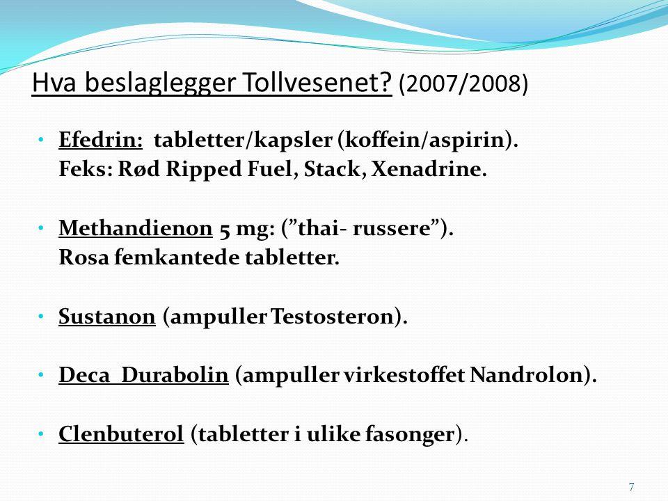Hva beslaglegger Tollvesenet? (2007/2008) • Efedrin: tabletter/kapsler (koffein/aspirin). Feks: Rød Ripped Fuel, Stack, Xenadrine. • Methandienon 5 mg