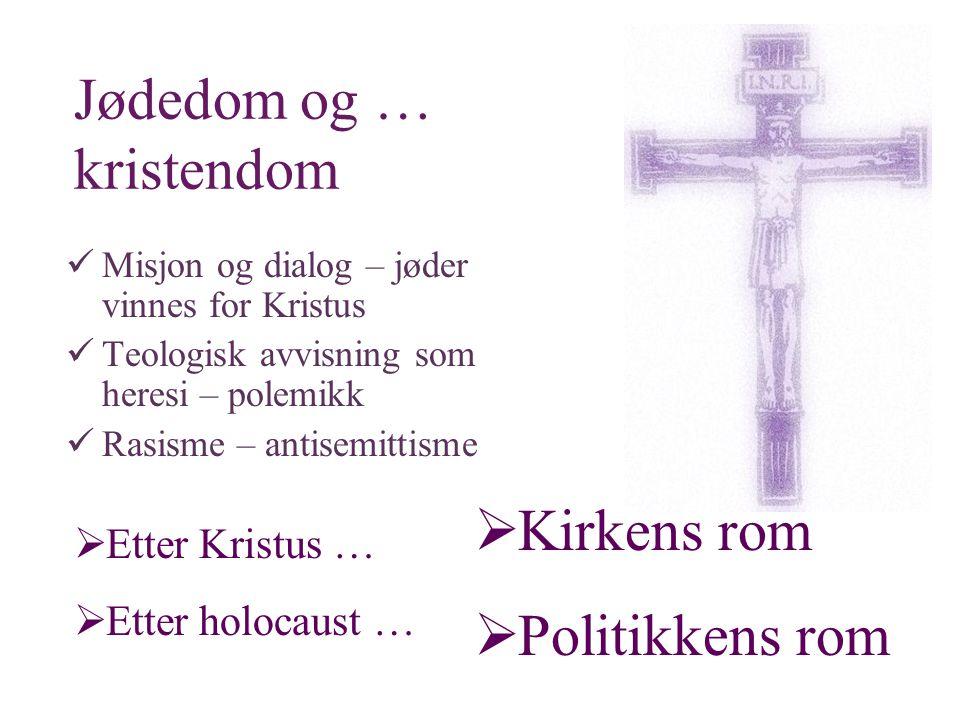Jødedom og … kristendom  Misjon og dialog – jøder vinnes for Kristus  Teologisk avvisning som heresi – polemikk  Rasisme – antisemittisme  Etter Kristus …  Etter holocaust …  Kirkens rom  Politikkens rom
