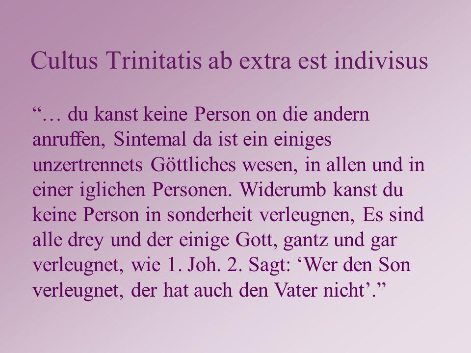 Cultus Trinitatis ab extra est indivisus … du kanst keine Person on die andern anruffen, Sintemal da ist ein einiges unzertrennets Göttliches wesen, in allen und in einer iglichen Personen.
