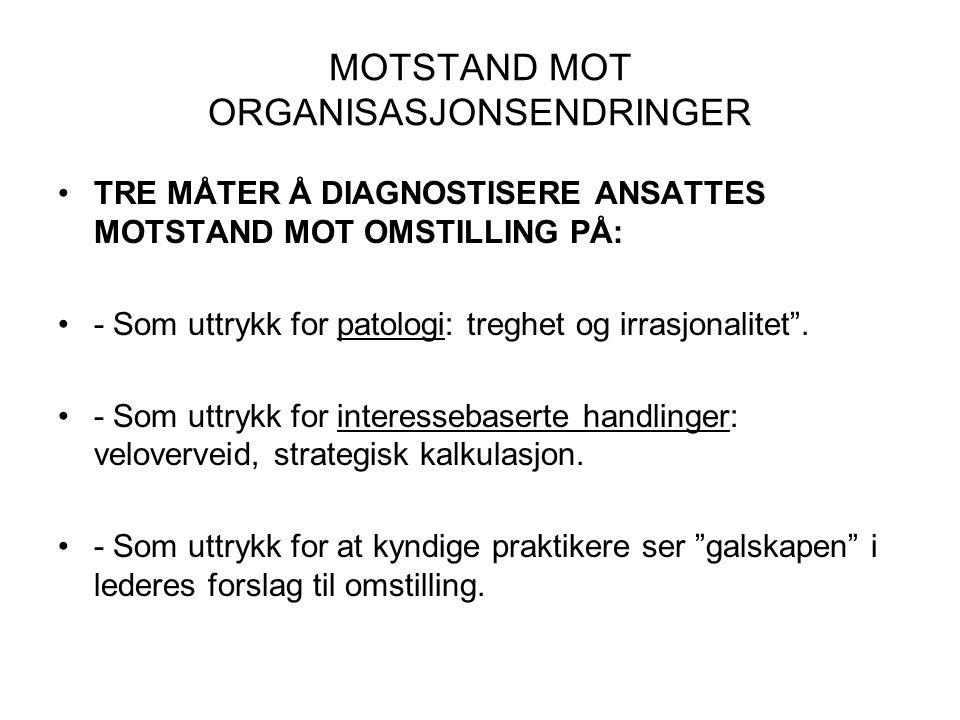 MOTSTAND MOT ORGANISASJONSENDRINGER •TRE MÅTER Å DIAGNOSTISERE ANSATTES MOTSTAND MOT OMSTILLING PÅ: •- Som uttrykk for patologi: treghet og irrasjonal
