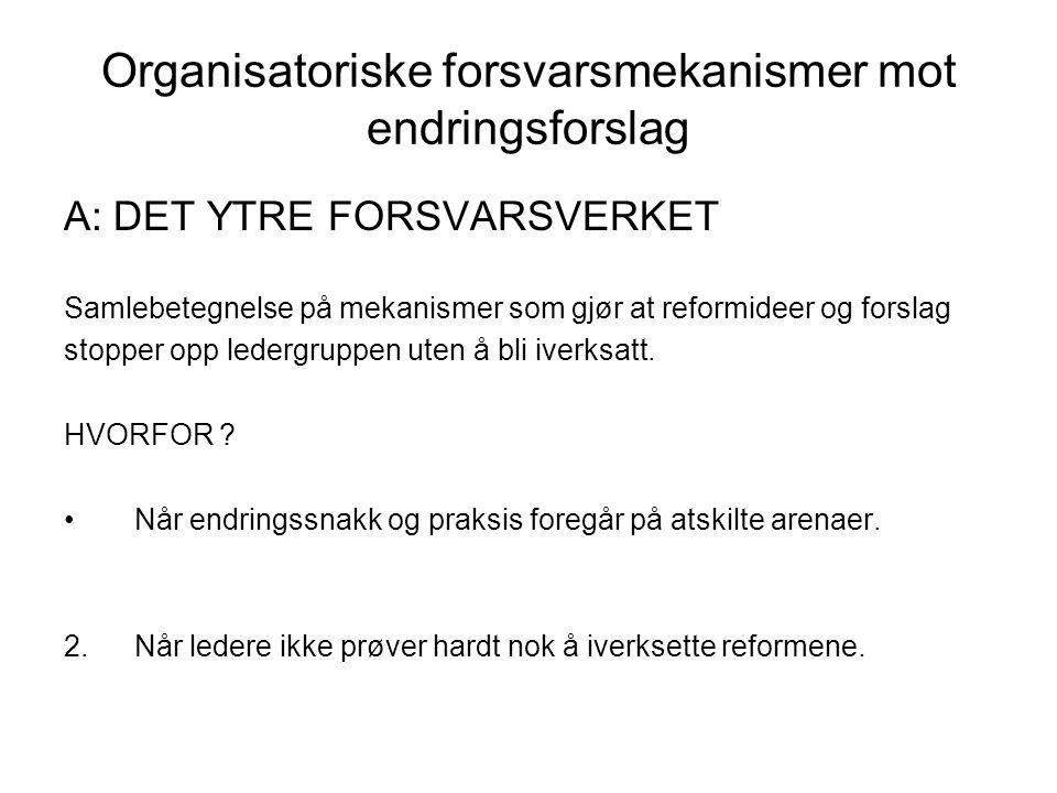 Organisatoriske forsvarsmekanismer mot endringsforslag A: DET YTRE FORSVARSVERKET Samlebetegnelse på mekanismer som gjør at reformideer og forslag sto