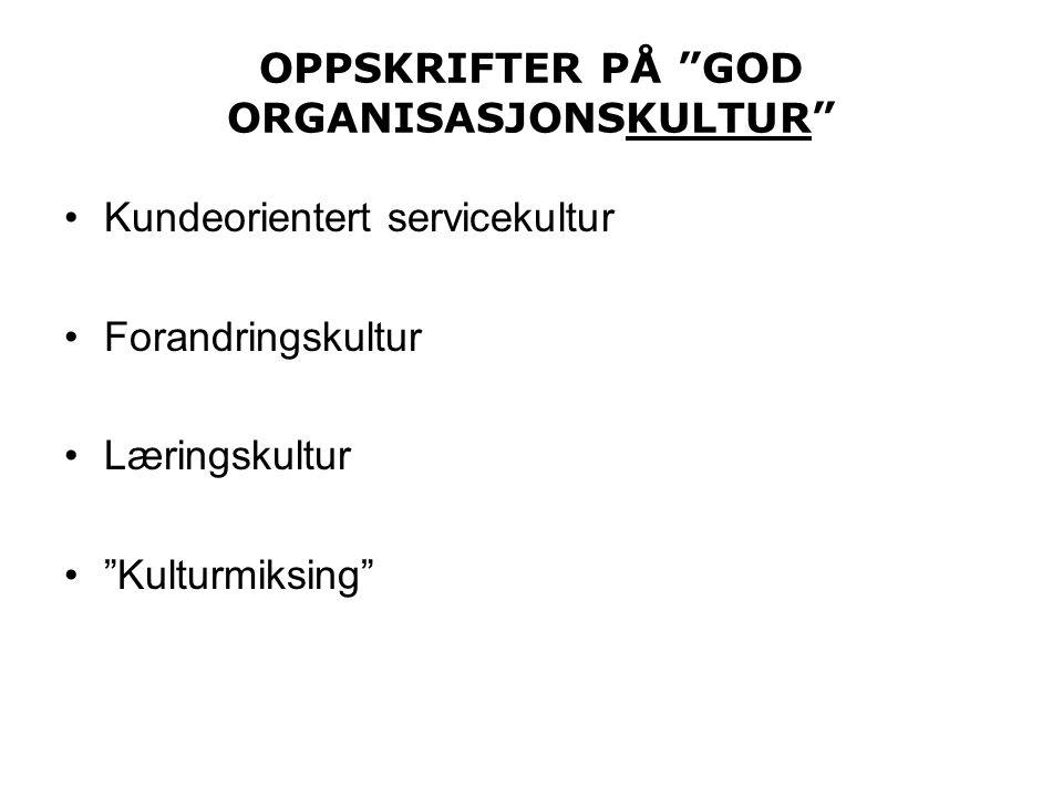 "OPPSKRIFTER PÅ ""GOD ORGANISASJONSKULTUR"" •Kundeorientert servicekultur •Forandringskultur •Læringskultur •""Kulturmiksing"""