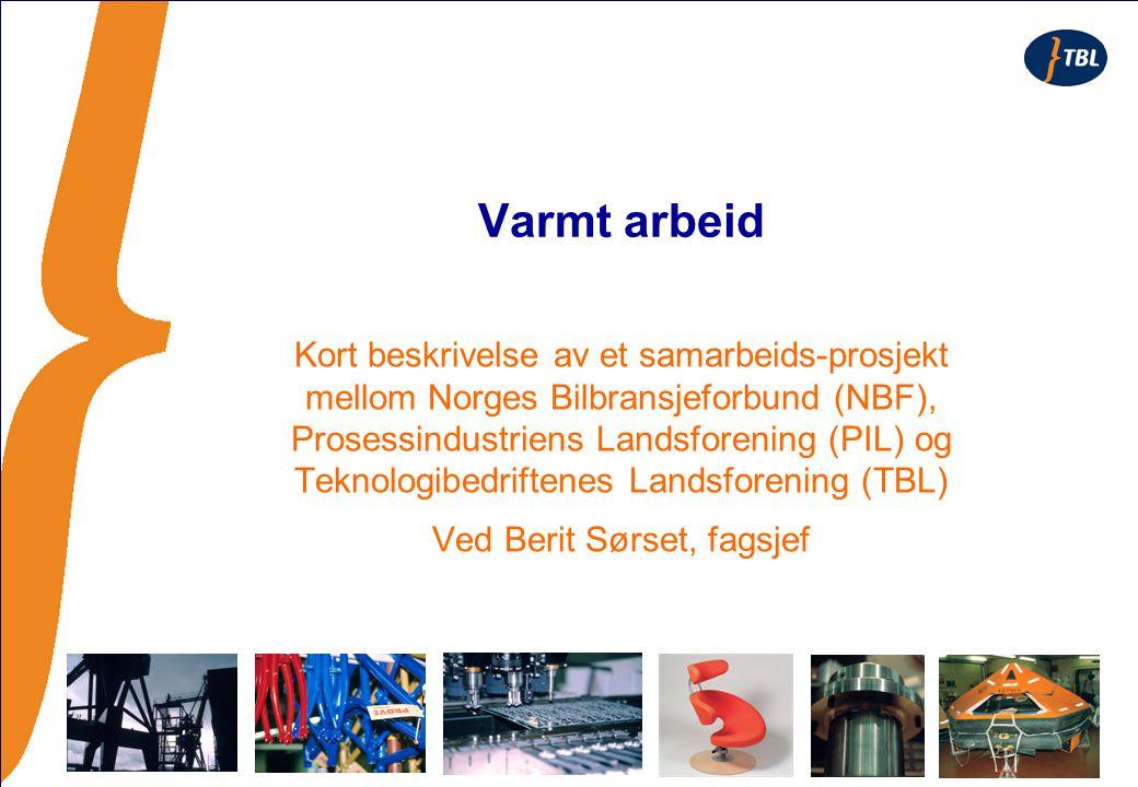 Varmt arbeid Kort beskrivelse av et samarbeids-prosjekt mellom Norges Bilbransjeforbund (NBF), Prosessindustriens Landsforening (PIL) og Teknologibedriftenes Landsforening (TBL) Ved Berit Sørset, fagsjef