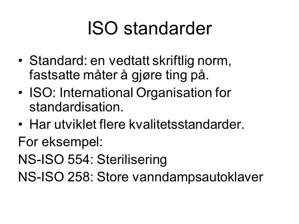 ISO standarder •Standard: en vedtatt skriftlig norm, fastsatte måter å gjøre ting på. •ISO: International Organisation for standardisation. •Har utvik