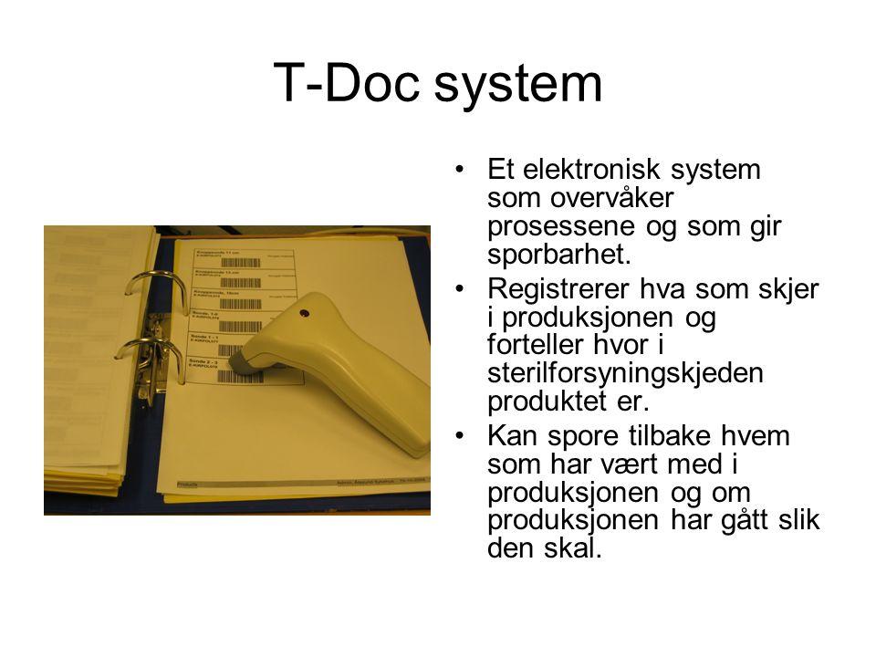 T-Doc system •Et elektronisk system som overvåker prosessene og som gir sporbarhet. •Registrerer hva som skjer i produksjonen og forteller hvor i ster