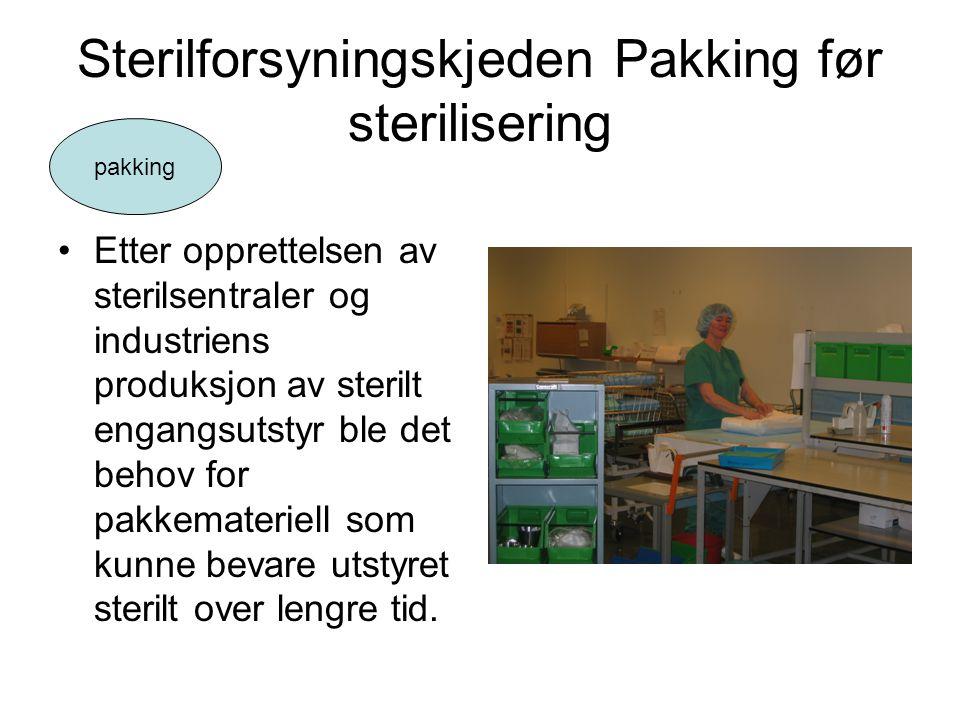Sterilforsyningskjeden Pakking før sterilisering •Etter opprettelsen av sterilsentraler og industriens produksjon av sterilt engangsutstyr ble det beh