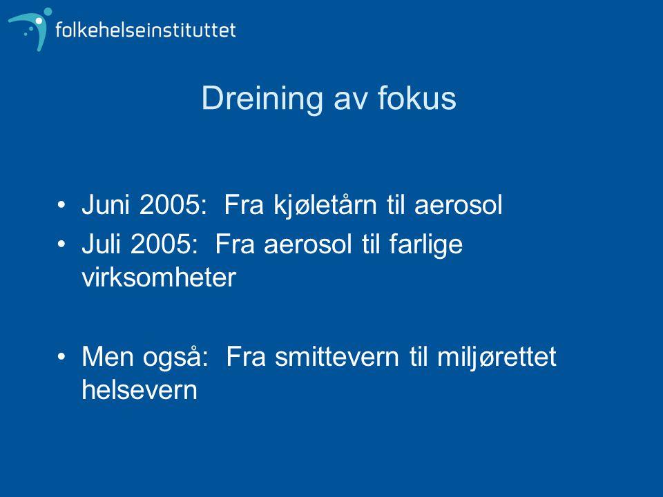 Dreining av fokus •Juni 2005: Fra kjøletårn til aerosol •Juli 2005: Fra aerosol til farlige virksomheter •Men også: Fra smittevern til miljørettet hel