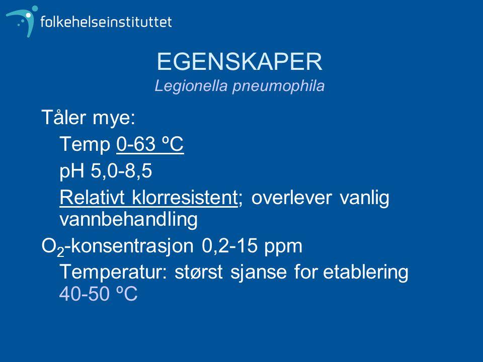 EGENSKAPER Legionella pneumophila Tåler mye: Temp 0-63 ºC pH 5,0-8,5 Relativt klorresistent; overlever vanlig vannbehandling O 2 -konsentrasjon 0,2-15