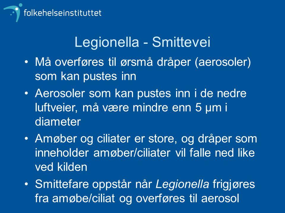 Legionella - Smittevei •Må overføres til ørsmå dråper (aerosoler) som kan pustes inn •Aerosoler som kan pustes inn i de nedre luftveier, må være mindr
