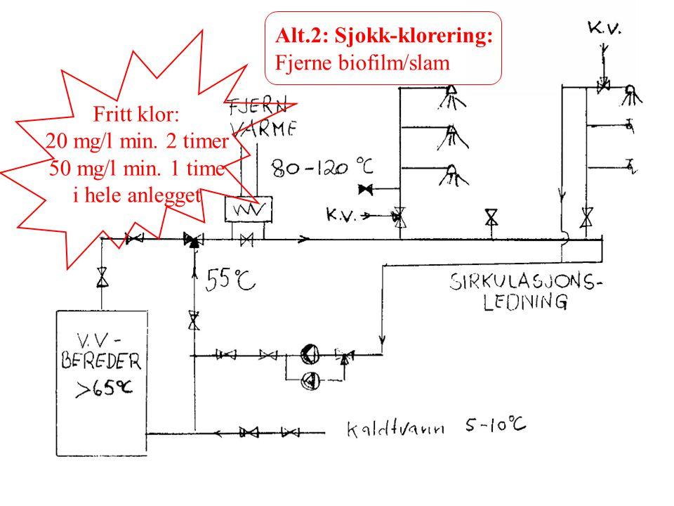 Alt.2: Sjokk-klorering: Fjerne biofilm/slam Fritt klor: 20 mg/l min. 2 timer 50 mg/l min. 1 time i hele anlegget