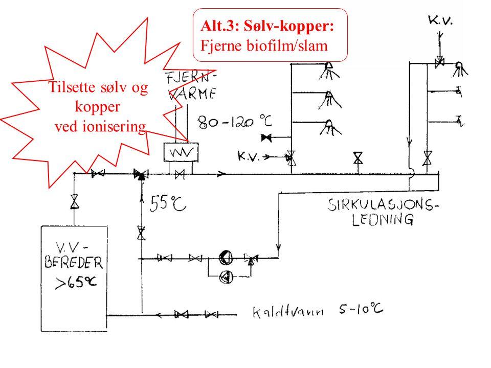 Alt.3: Sølv-kopper: Fjerne biofilm/slam Tilsette sølv og kopper ved ionisering