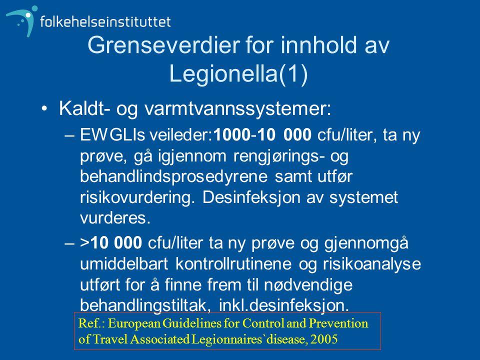 Grenseverdier for innhold av Legionella(1) •Kaldt- og varmtvannssystemer: –EWGLIs veileder:1000-10 000 cfu/liter, ta ny prøve, gå igjennom rengjørings